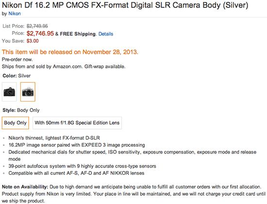 Nikon Df price