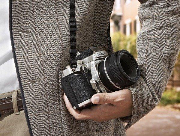 Silver Nikon Df in hand